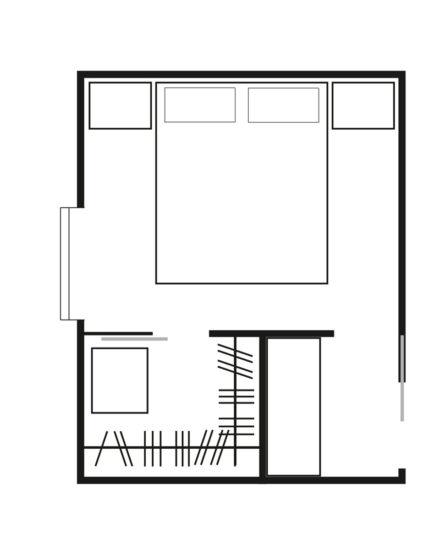 Esempio di soluzione per cabine armadio con cabina posizionata a fianco della porta
