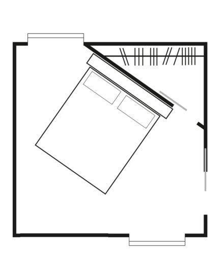 Soluzione con cabina armadio posizionata su un angolo della stanza