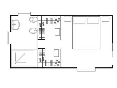 Esempio di soluzione per cabina armadio/spogliatoio